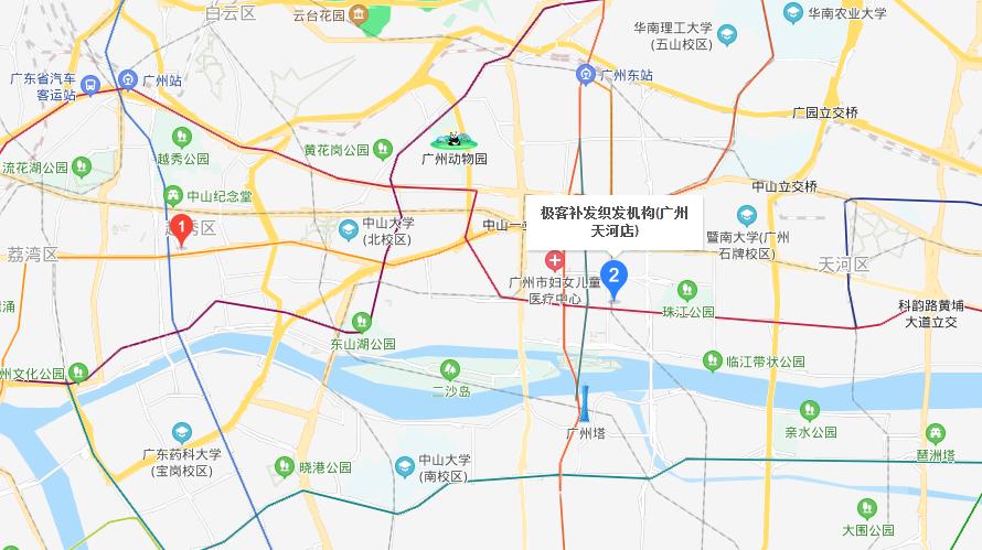 极客补发织发机构(广州天河店)地图
